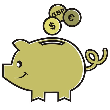 Moneybox, vector icon. Smile pig and money.