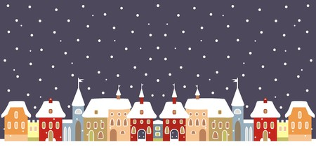 pinnacle: Town in winter, vector backgrond Illustration