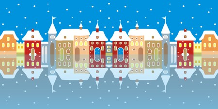 mirror reflection: Town in winter, mirror reflection in the water. Illustration