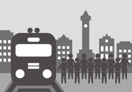 railcar: railway station, vector icon Illustration