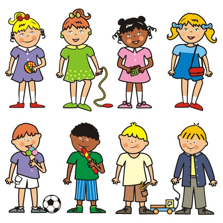 gambol: Group of children, vector icon