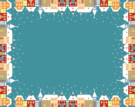 church group: Town in winter, vector frame