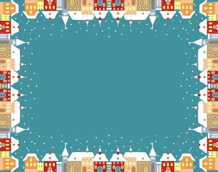 winter vector: Town in winter, vector frame