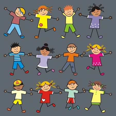 gambol: Jumping children. Boys and girls. Dark background.