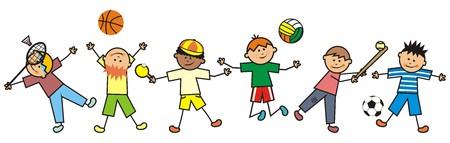 softball player: Jumping boys, icon. Happy kids. Illustration