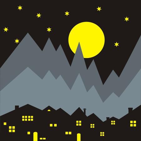 night: houses, night scene
