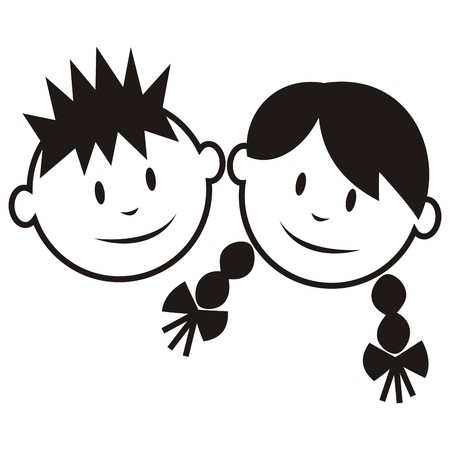 pers: Face, boy and girl. Black vector icon.