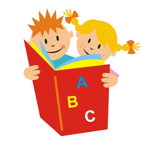 pers: kids and book, vector icon
