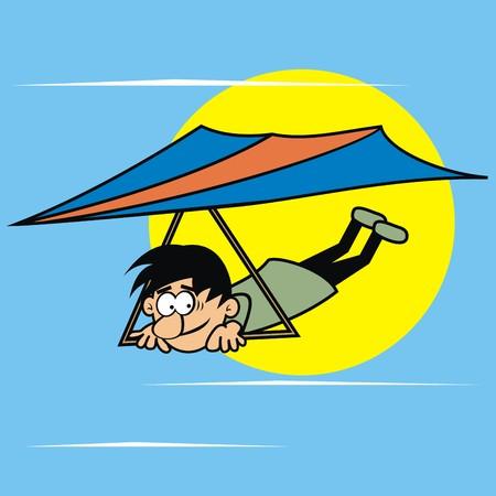 hang glider, Vector funny icon Vetores