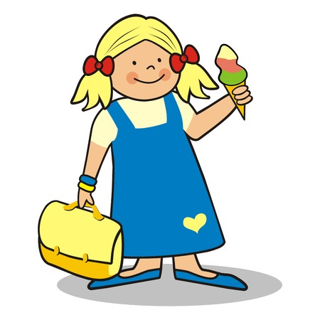 pers: Girl and schoolbag, vector icon. Funny illustration. Illustration