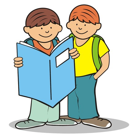 student studying: school children and exercise book