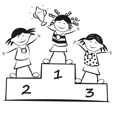 Winners on the podium, coloring book