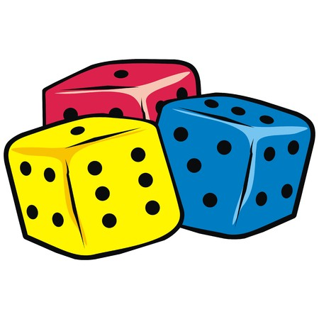 wagers: Dice for backgammon. Vector icon. Colored illustration.