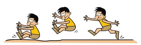 mosca caricatura: salto de longitud  Vectores