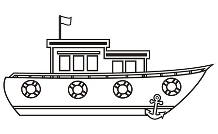 ketch: boat, black and white silhouette
