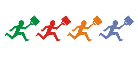 Running figurine with briefcase. icon.