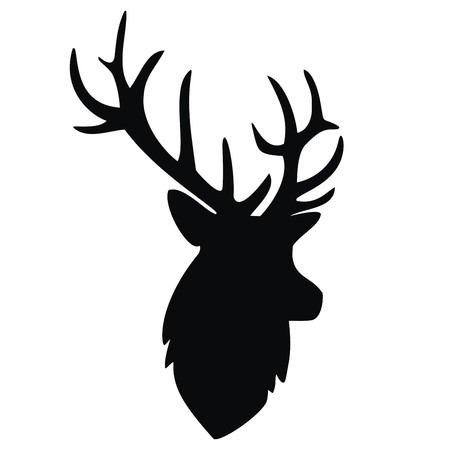 profile silhouette: deer, black silhouette Illustration