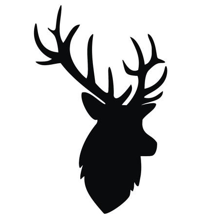 animal head: deer, black silhouette Illustration