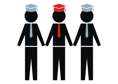 pers: College graduates, vector icon. Black figures. Illustration
