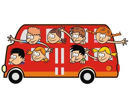 Autobús y niños divertidos. Niños que viajan.