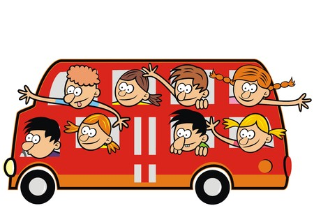 Bus and funny kids. Children traveling. Illustration