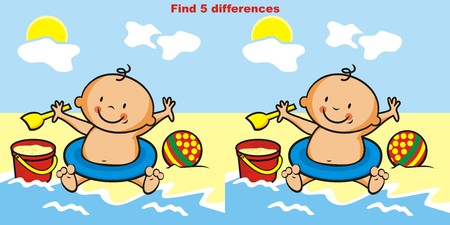 puzzlement: Toddler, game for chidren. Find 5 differences.