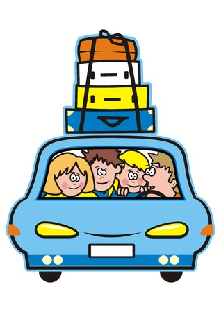 Family holiday, car and mother, father, girl and boy. Vector icon.