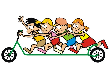 sportsmen: A group of children on a scooter. Vector illustration. Illustration