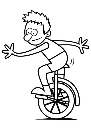 unicycle: boy and unicycle, coloring book Illustration