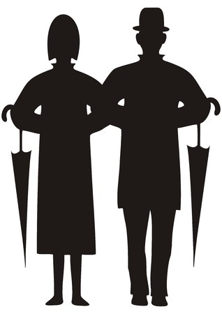 beau: figures with umbrella Illustration