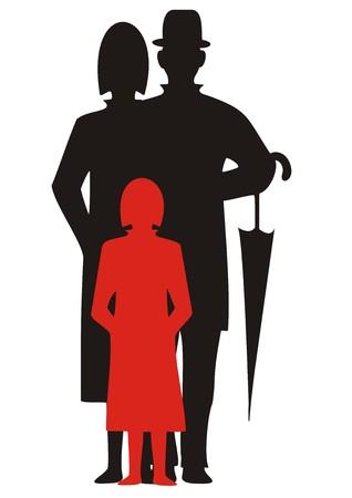 family, silhouette, vector icon Vektorové ilustrace