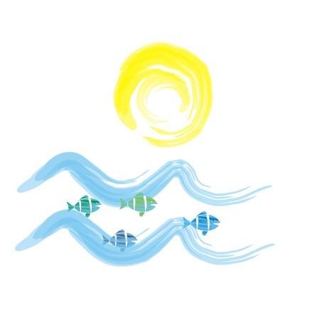 sunup: sea, vector icon