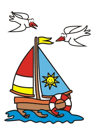 billow: Sailboat and gull Illustration