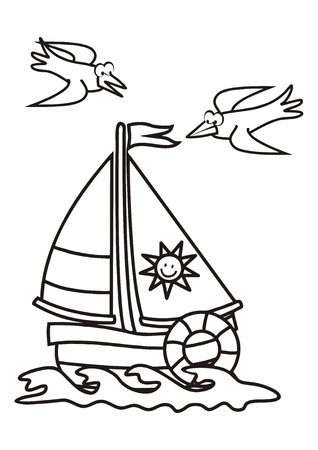 sailboard: sailboat, coloring book