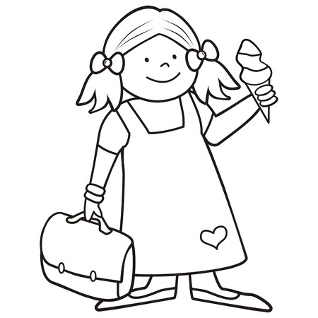 girl and schoobag, coloring book