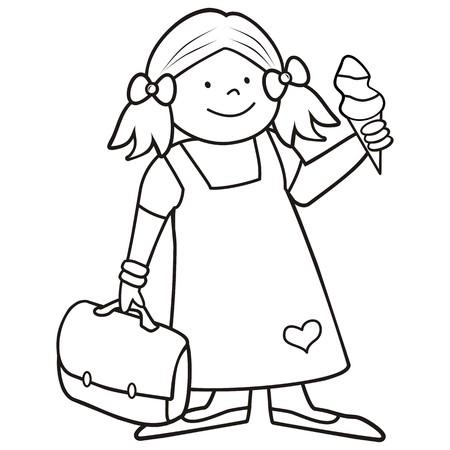 meisje en schoobag, kleurboek Stock Illustratie
