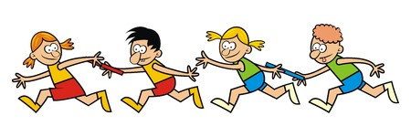 children running, relay