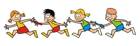 kinderen lopen, relais Stock Illustratie