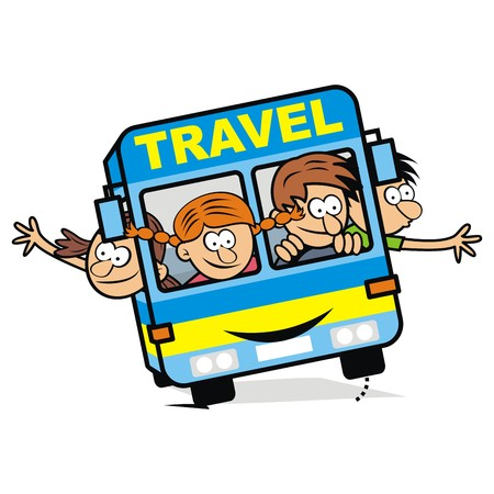 blue bus and children, vector icon