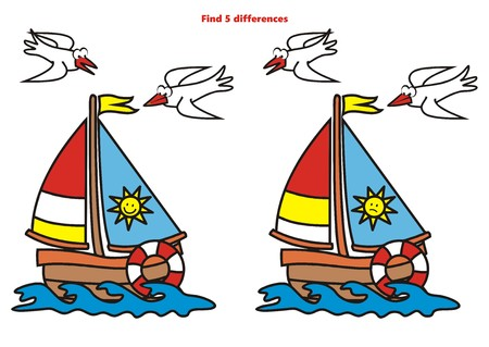 enigma: sailboat, find five differences Illustration