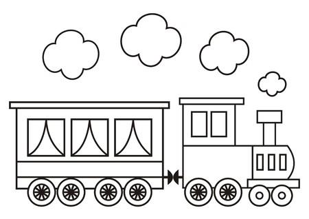 Tren Conjunto, Tres Vagones Locomotora. Ilustración De Vector ...