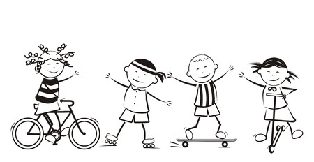 sports girl: Kinds of sports, cycling, skating, skateboarding. Happy kids. Black and white illustration.