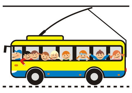 trolleybus: trolleybus and children