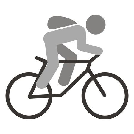 jaunty: cyclist and bag, icon Illustration