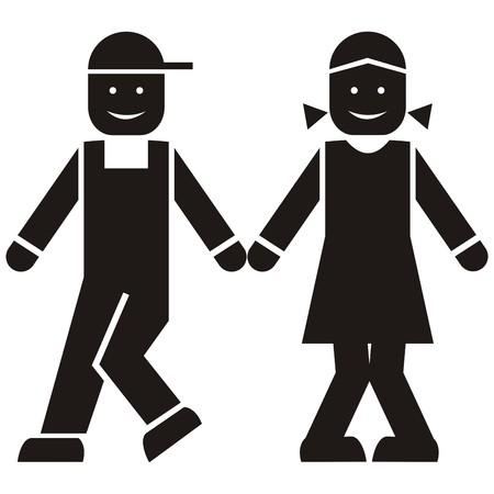 gait: figure, black icon, boy and girl