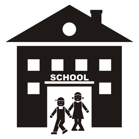 schoolhouse: Schoolhouse and children Illustration