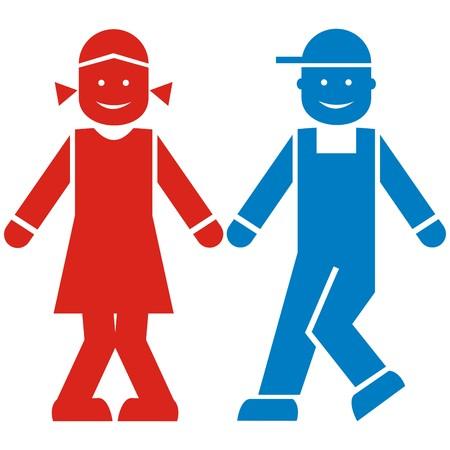girl and boy, color icon Vektorové ilustrace