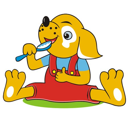 dog and spoon Illustration