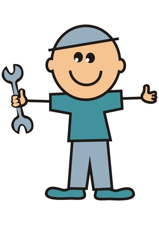 Repairman, figure with wrench.