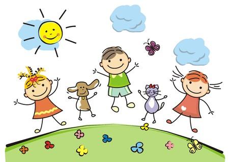 Felices los niños, niñas, niño, perro, gato y mariposas. Ilustración de vector